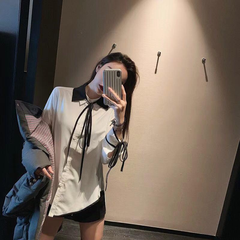 早安樊樊洋气系带双领蝴蝶结衬衫女设计感小众韩版春秋长袖白衬衣