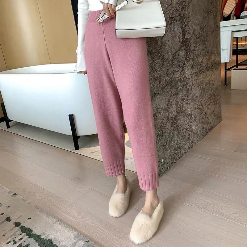 粉色毛线奶奶裤哈伦裤针织萝卜裤女秋冬2019新款直筒宽松束脚裤子