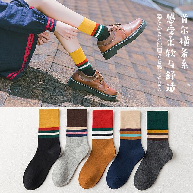 秋冬款新品典雅歐美風日系甜美豎條紋系列提花中筒純棉中統女襪子