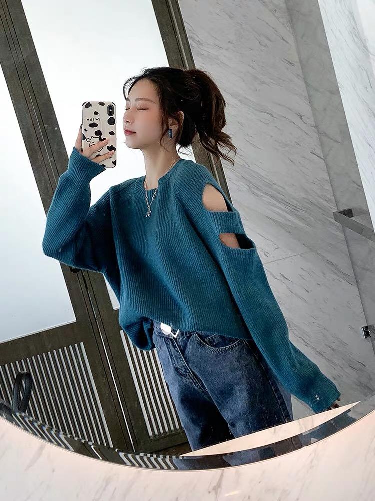 破洞针织衫女秋冬装2019年新款宽松百搭慵懒风露肩长袖毛衣外套潮