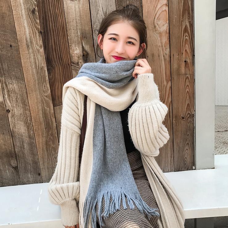 2019秋冬圍巾女秋冬新款拼色流蘇圍巾男女 長款加厚保暖