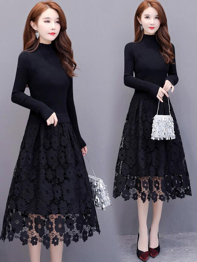 女裝2019新款洋氣黑色長袖針織蕾絲假兩件中長款打底連衣裙女秋冬