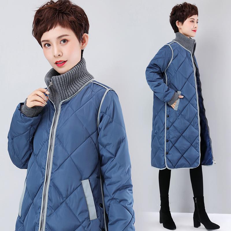 實拍羽絨服長款女過膝2019新款韓版寬松棉服大碼立領時尚棉衣外套