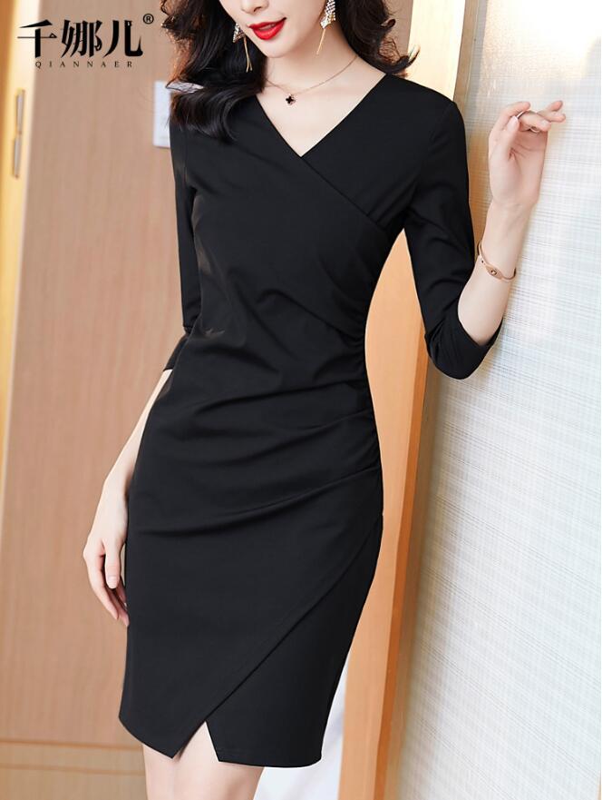 黑色職業包臀開叉連衣裙女2019新款秋冬裝V領修身氣質顯瘦一步裙