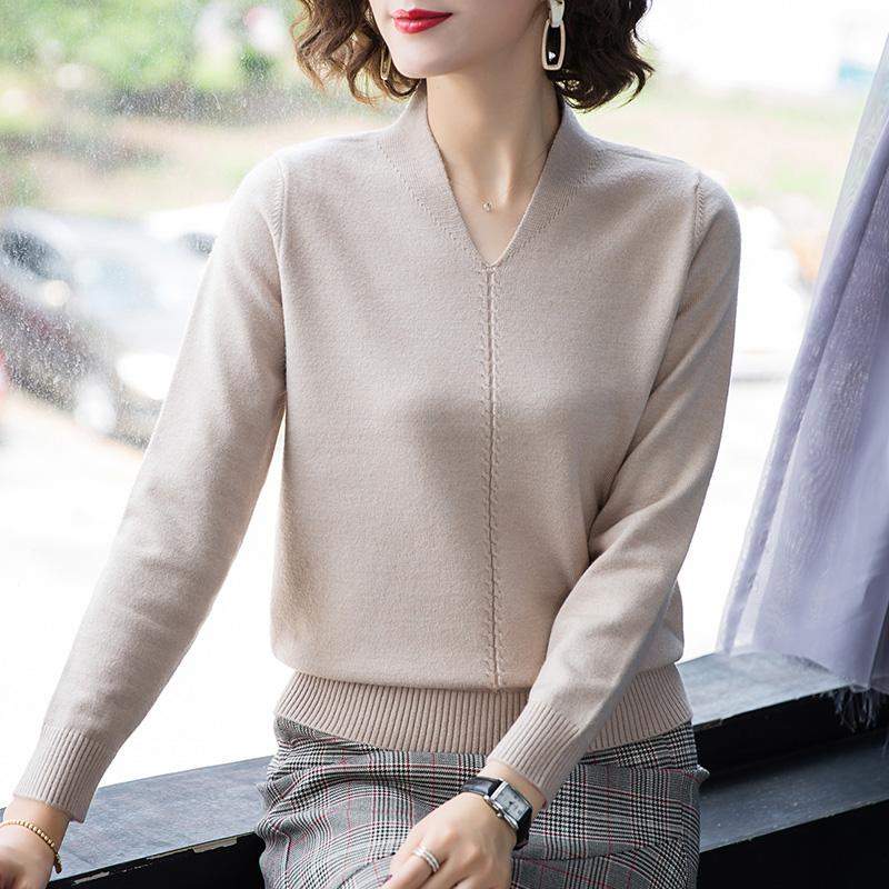 20221毛衣女套頭寬松外穿長袖上衣秋冬洋氣針織打底衫時尚內搭潮