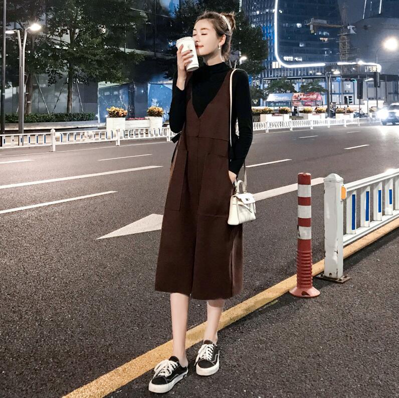 背帶連衣裙女中長款兩件套秋冬2019年新款法式復古韓版寬松套裝裙