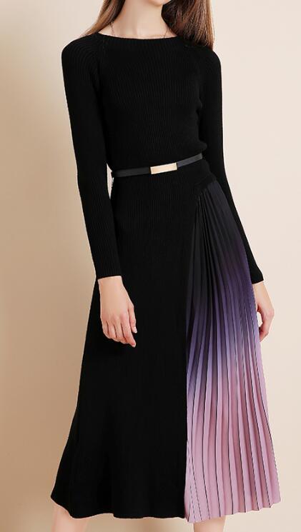 秋冬女通勤長袖修身顯瘦中長款針織連衣裙拼接漸變色百褶毛衣裙子