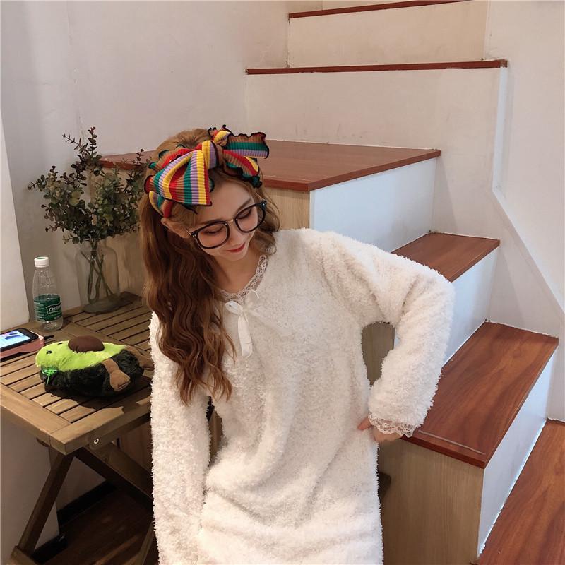實拍實價 韓版公主睡裙可愛甜美法蘭絨睡衣家居服