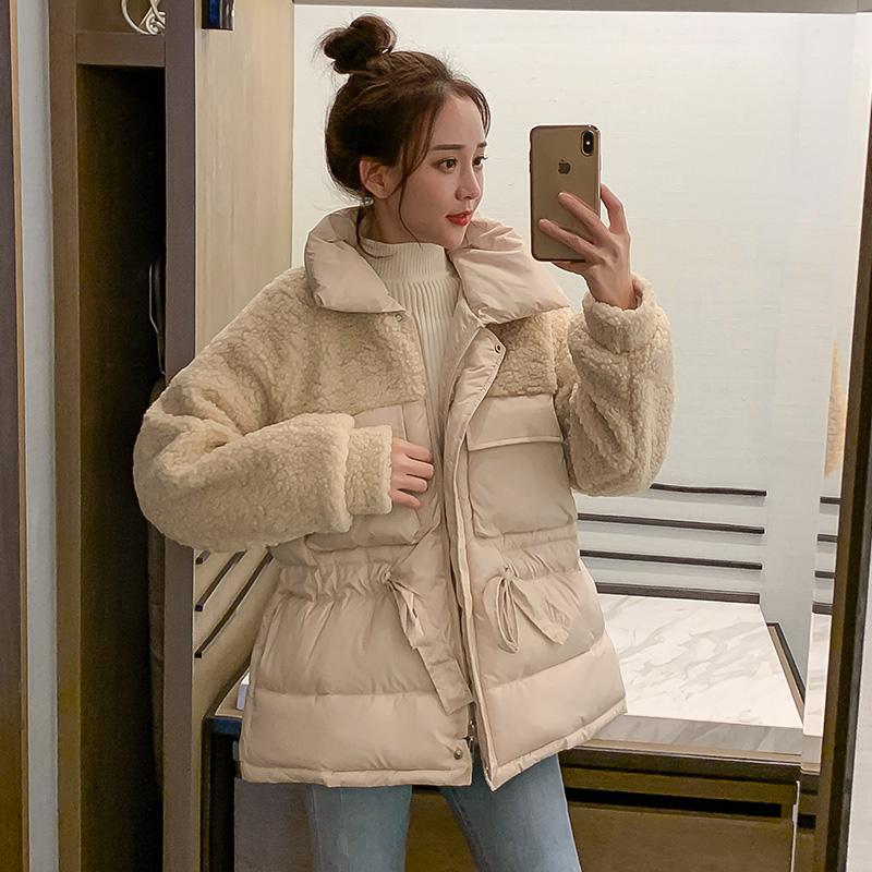 控价139元 亚博娱乐平台入口2019新款颗粒绒羊羔毛加厚羽绒服棉衣外套女棉服