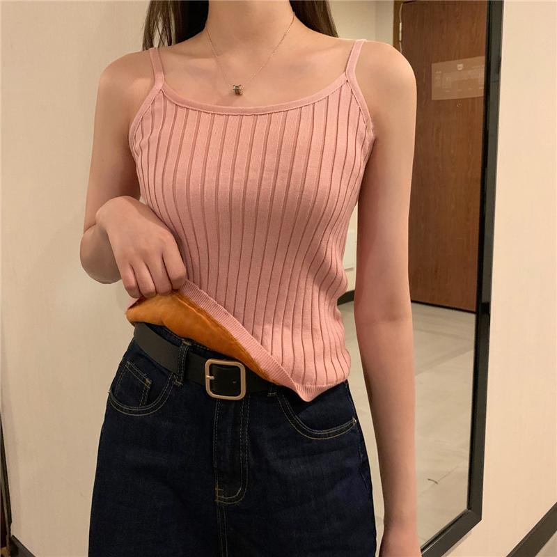 實拍實價吊帶背心女秋冬新款修身加絨加厚保暖無袖打底衫內搭針織