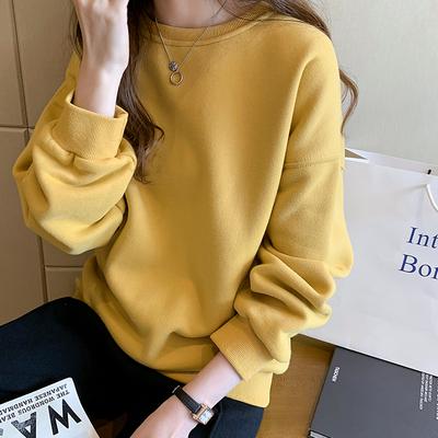加絨衛衣女2019新款韓版寬松bf風中長款圓領上衣休閑百搭加厚外套