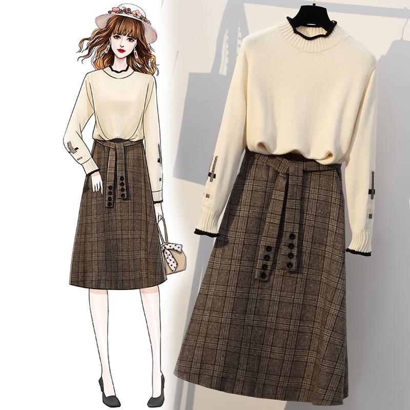 大碼女裝秋冬寬松毛衣適合胯大腿粗顯瘦連衣裙胖妹妹網紅兩件套裝