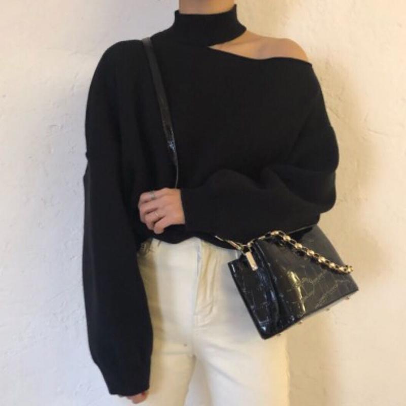 韓國chic冷淡風百搭半高領掛脖式露肩小心機寬松長袖包芯紗毛衣