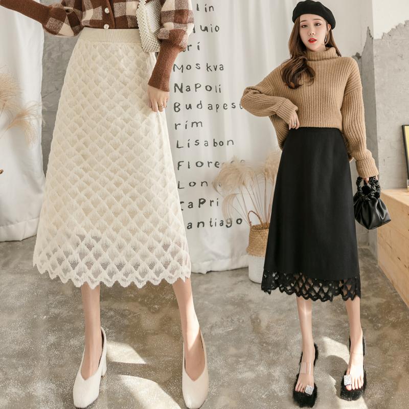 2019秋冬新款針織半身裙女彈力高腰中長款蕾絲裙兩面穿遮臀包臀裙