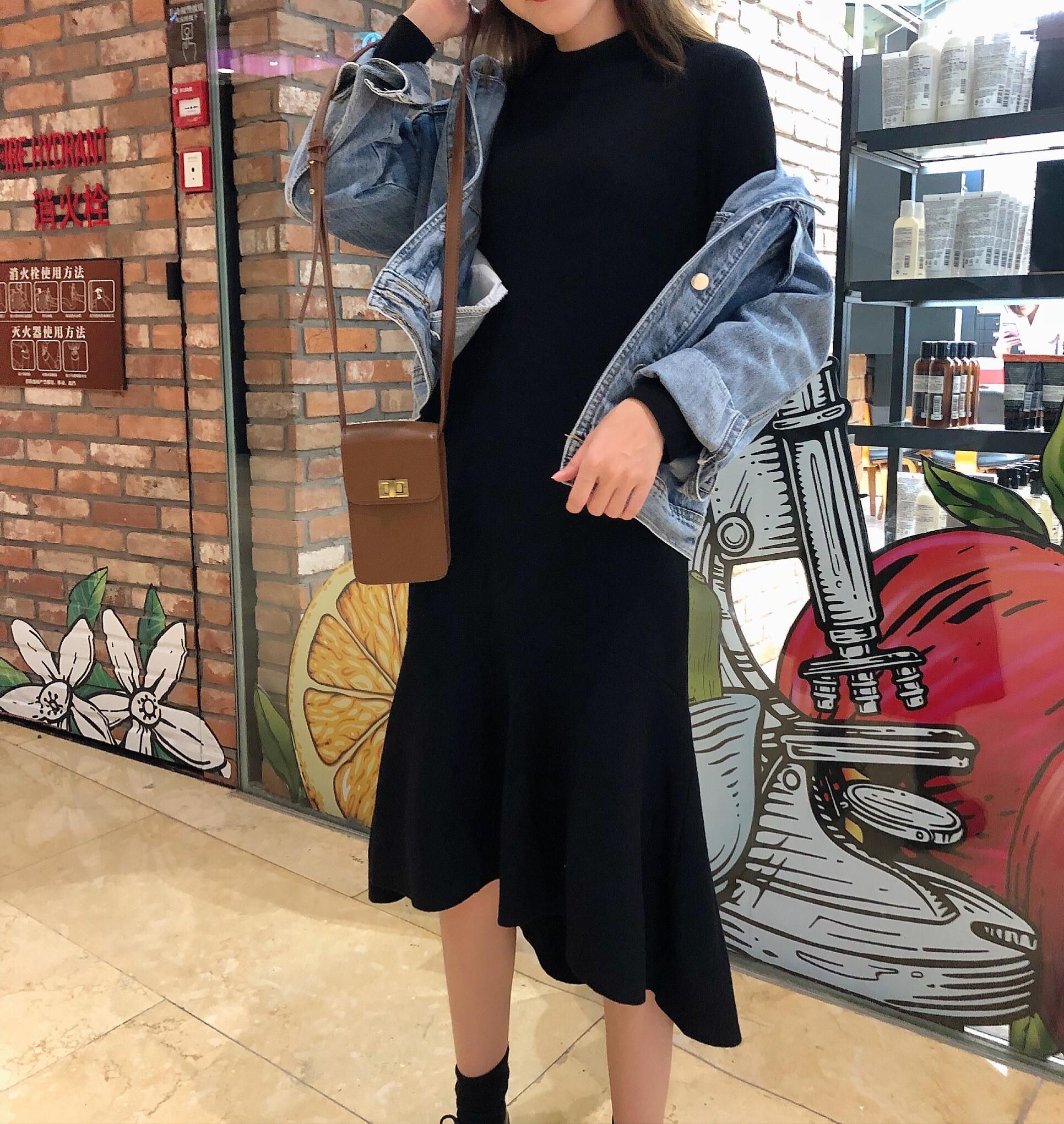 復古小眾魚尾連衣裙2019年秋冬季韓版針織打底裙+短款牛仔外套