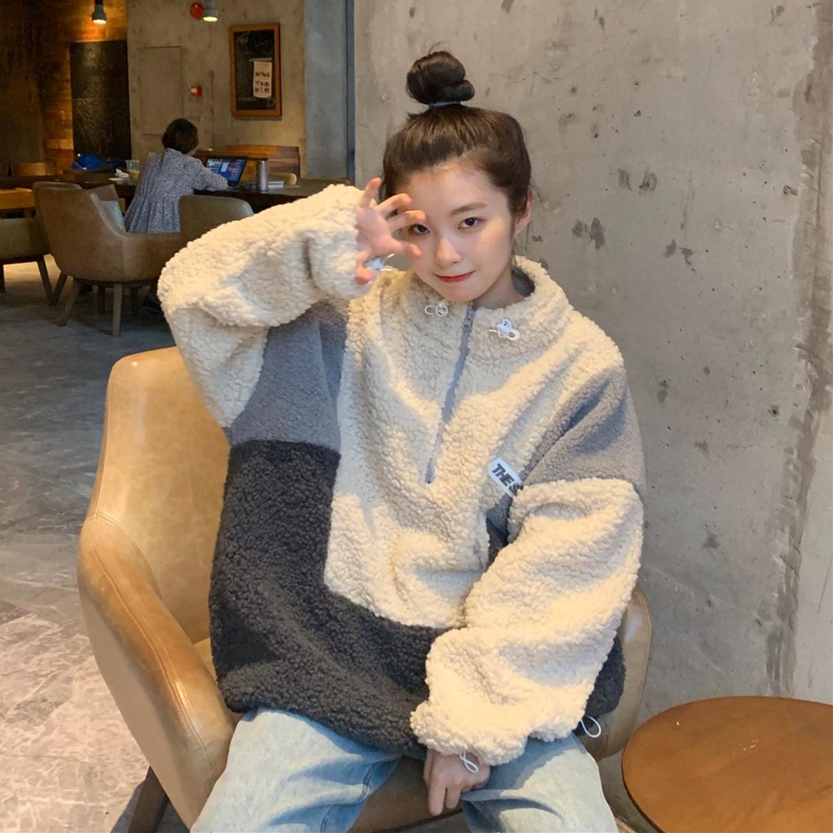 實拍實價 拼色仿羊羔毛絨衛衣女上衣秋冬季韓版ins潮寬松加厚