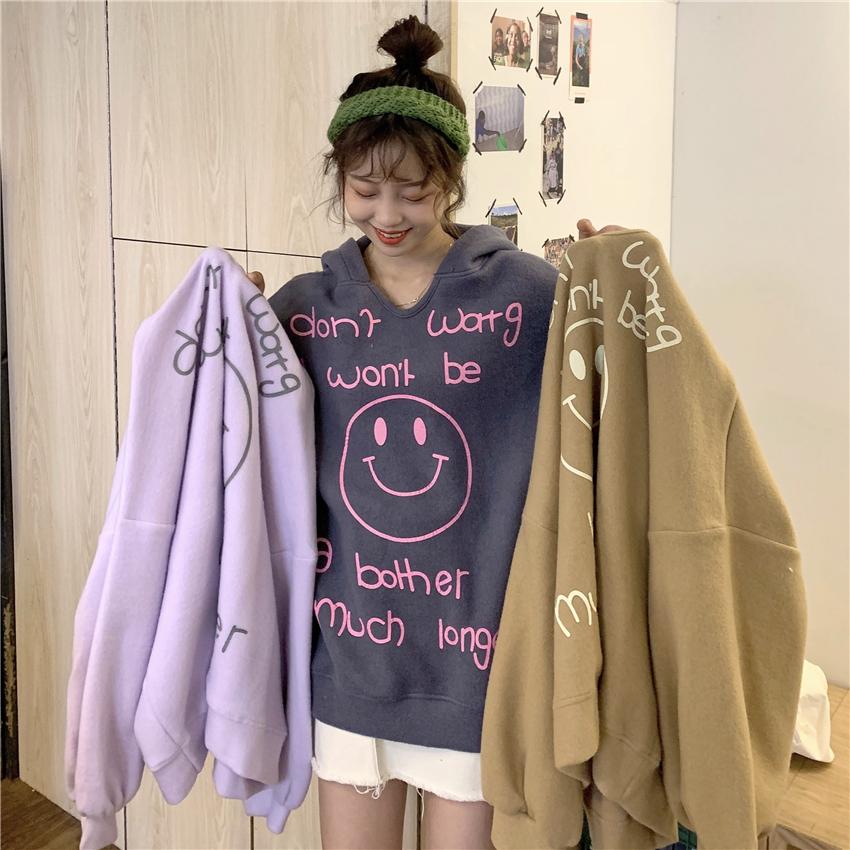實拍實價 韓版字母卡通印花寬松套頭bf慵懶風連帽衛衣上衣