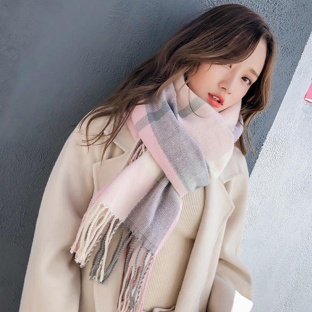 2019秋冬新款格子圍巾女仿羊絨格子披肩保暖圍脖兩用
