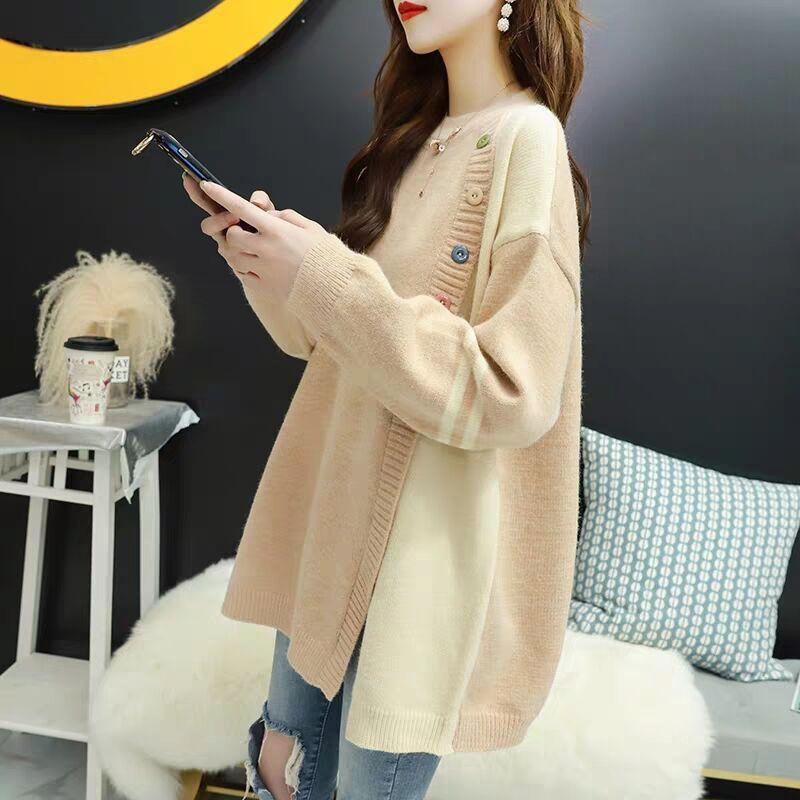 宽松毛衣女套头韩版外穿秋冬季2019新款时尚慵懒风粗线针织衫外套