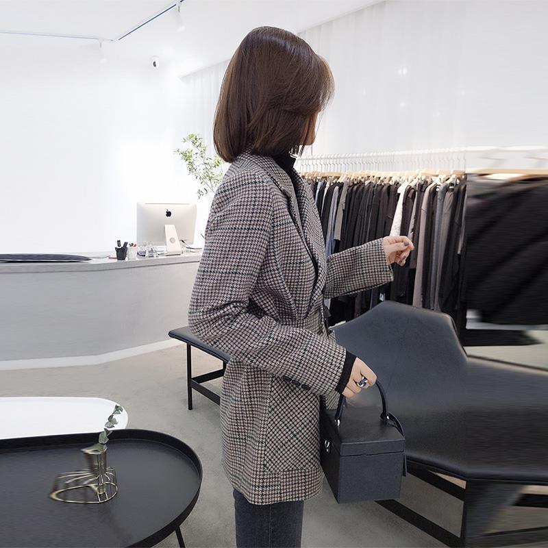 歐洲站2019冬裝新款女裝歐貨韓版時尚格子寬松西裝領毛呢大衣外套