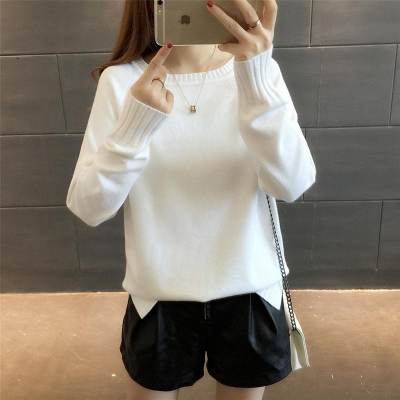 加絨秋冬新款加厚女裝寬松套頭韓版圓領純色長袖打底針織衫毛衣