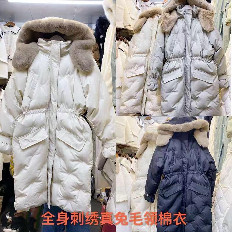 2019冬季新款連帽中長款棉衣外套腰間抽繩重工刺繡大毛領