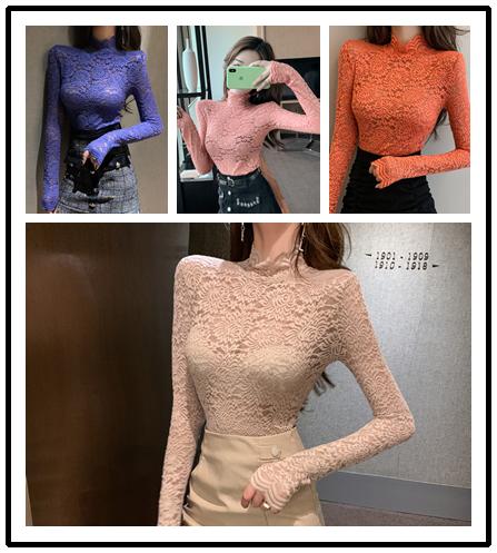 實拍~實價控價+3港味ins韓國高領蕾絲上衣袖子加長上衣+半身裙