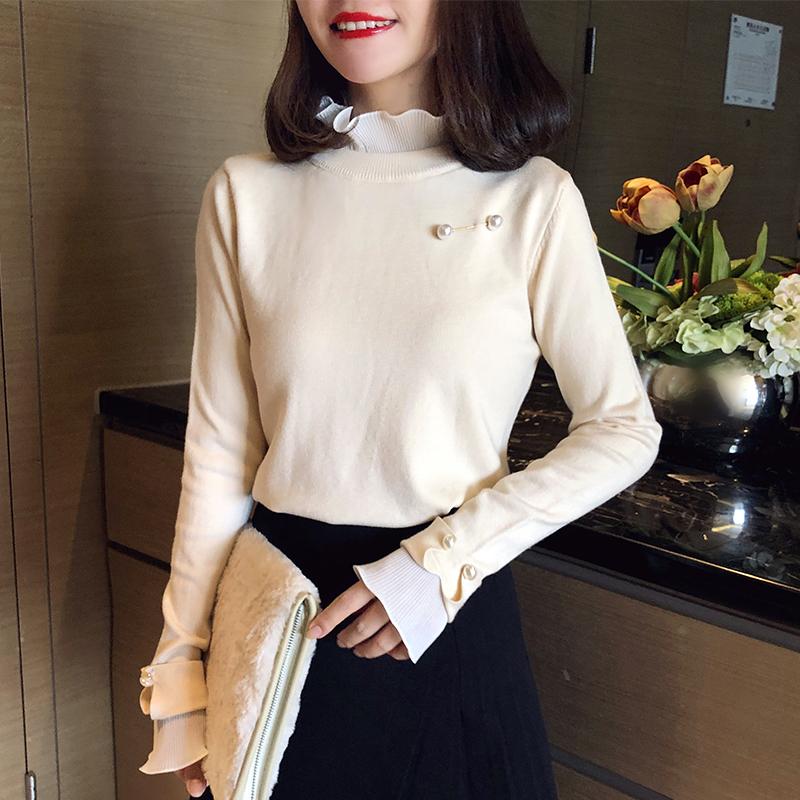 半高領毛衣女外穿2019秋冬新款設計感顯瘦木耳邊針織衫長袖打底衫