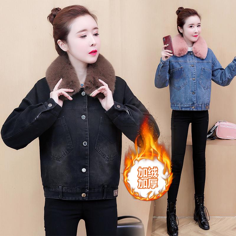 牛仔外套短款女2019秋冬新款加絨加厚韓版寬松羊羔毛領棉服棉衣