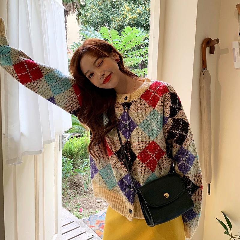 实拍实价韩版秋冬甜美复古彩色菱格圆领毛衣+黄色毛呢长裙半身裙
