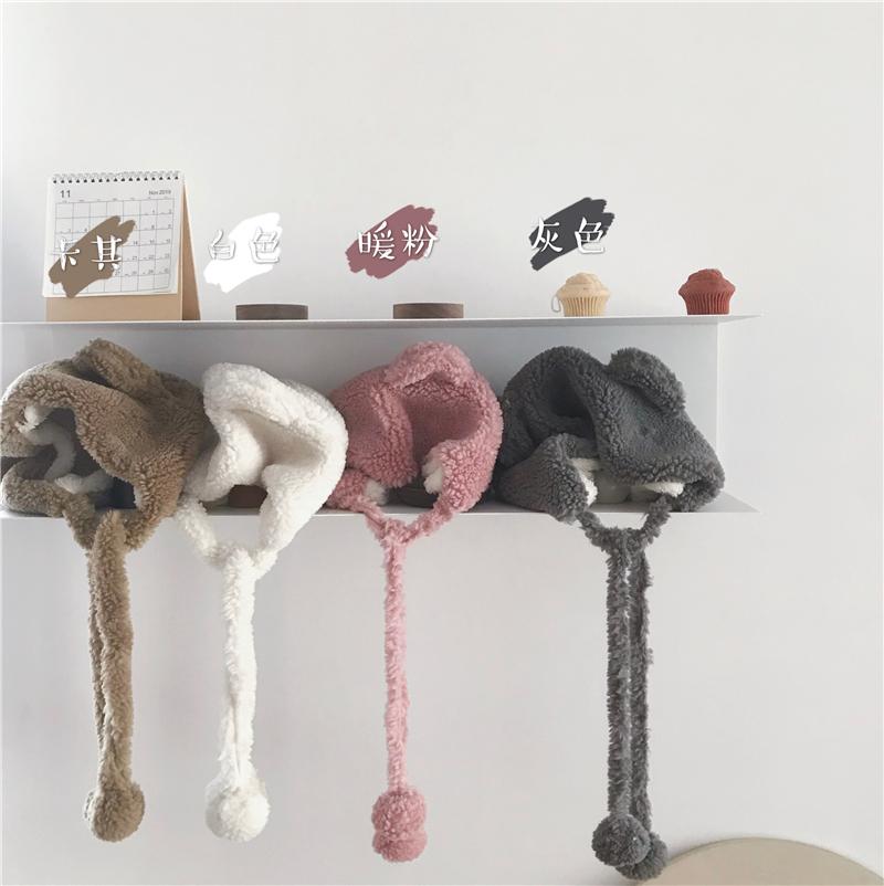 实拍实价 冬季韩版毛绒百搭小熊耳朵护耳可爱帽子