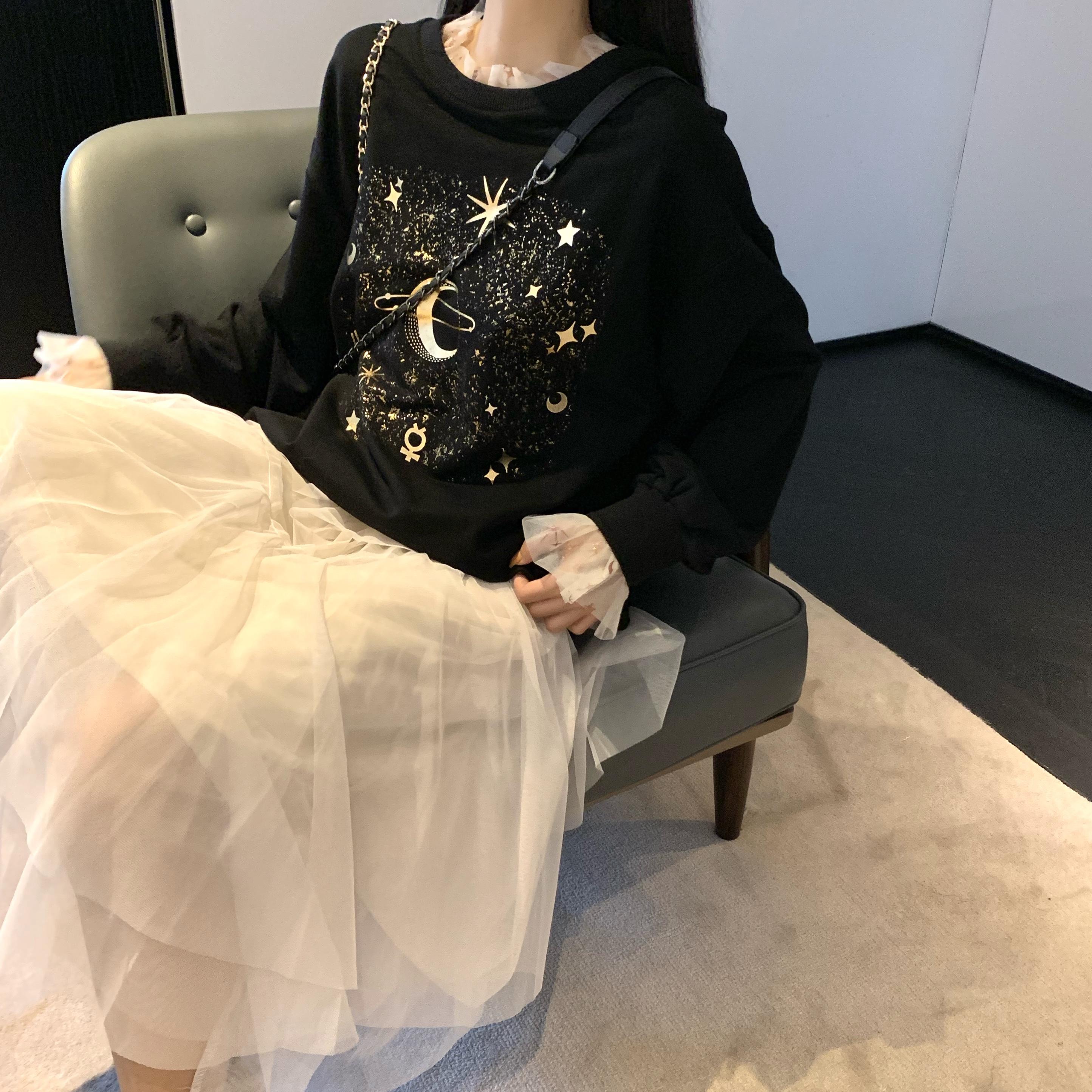 实拍实价秋季时尚套装星星印花网纱花边卫衣+仙气网纱半身裙