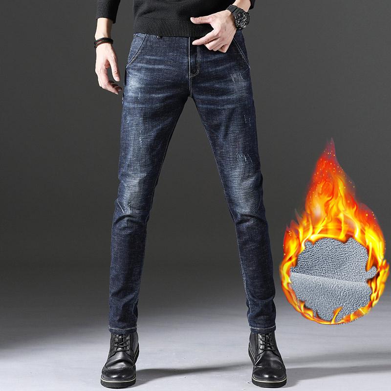 2019冬季新款加绒男士牛仔裤韩版百搭高档棉弹牛仔裤