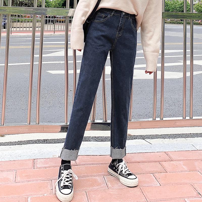 亚博娱乐平台入口 蓝灰直筒牛仔裤女高腰显瘦宽松显瘦卷边百搭秋冬新款裤子