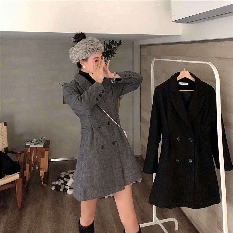實拍實價 毛呢外套加棉中長款收腰顯瘦西裝小香風氣質呢子大衣