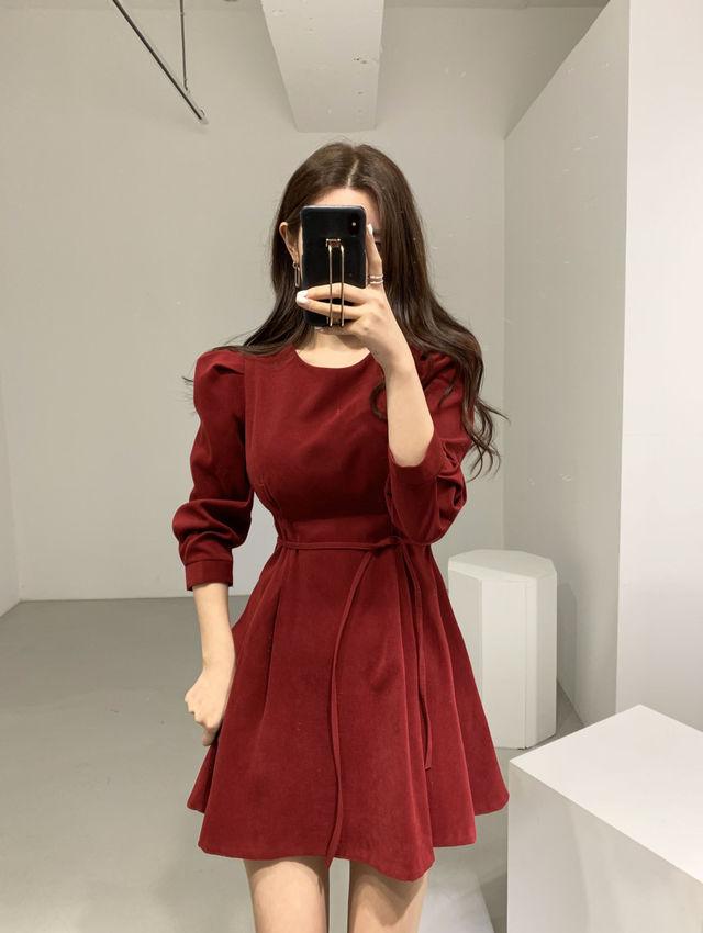 韩版chic修身系带泡泡袖连衣裙短裙