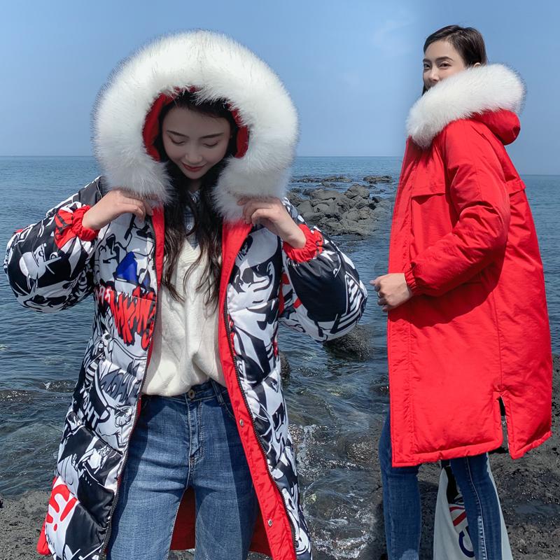 實拍兩面穿羽絨棉服女士中長款棉衣大碼加厚時尚棉襖外套冬季新款