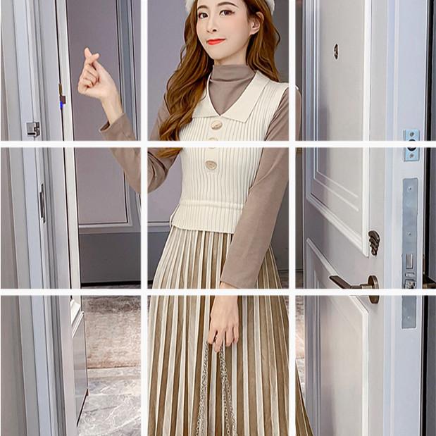 套装新款秋冬加绒加厚半高领长袖拼接丝绒连衣裙+马甲女装两件套