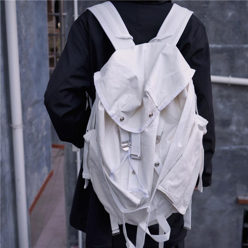 佛系上架,Faiting 背包多功能雙肩包白色帆布飄帶超大容量運動包