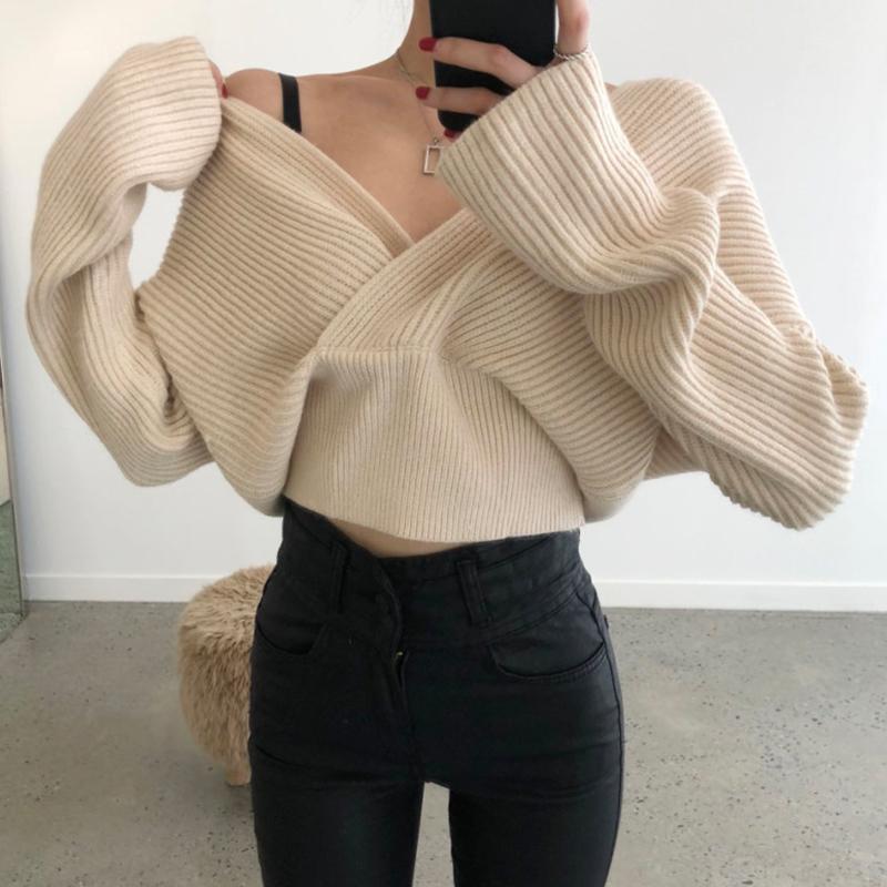 秋冬洋氣小性感交叉v領寬松粗針保暖短款針織衫