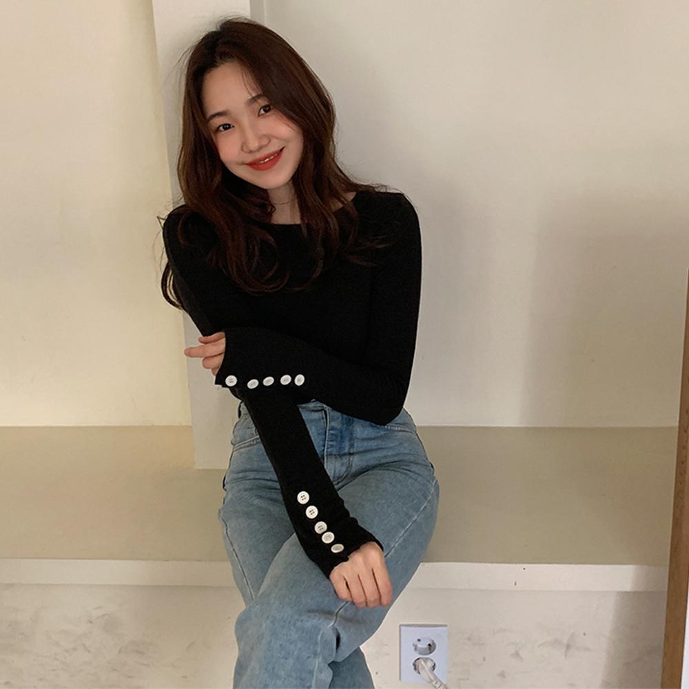 韩国chic 复古单排扣设计袖子 圆领气质T恤