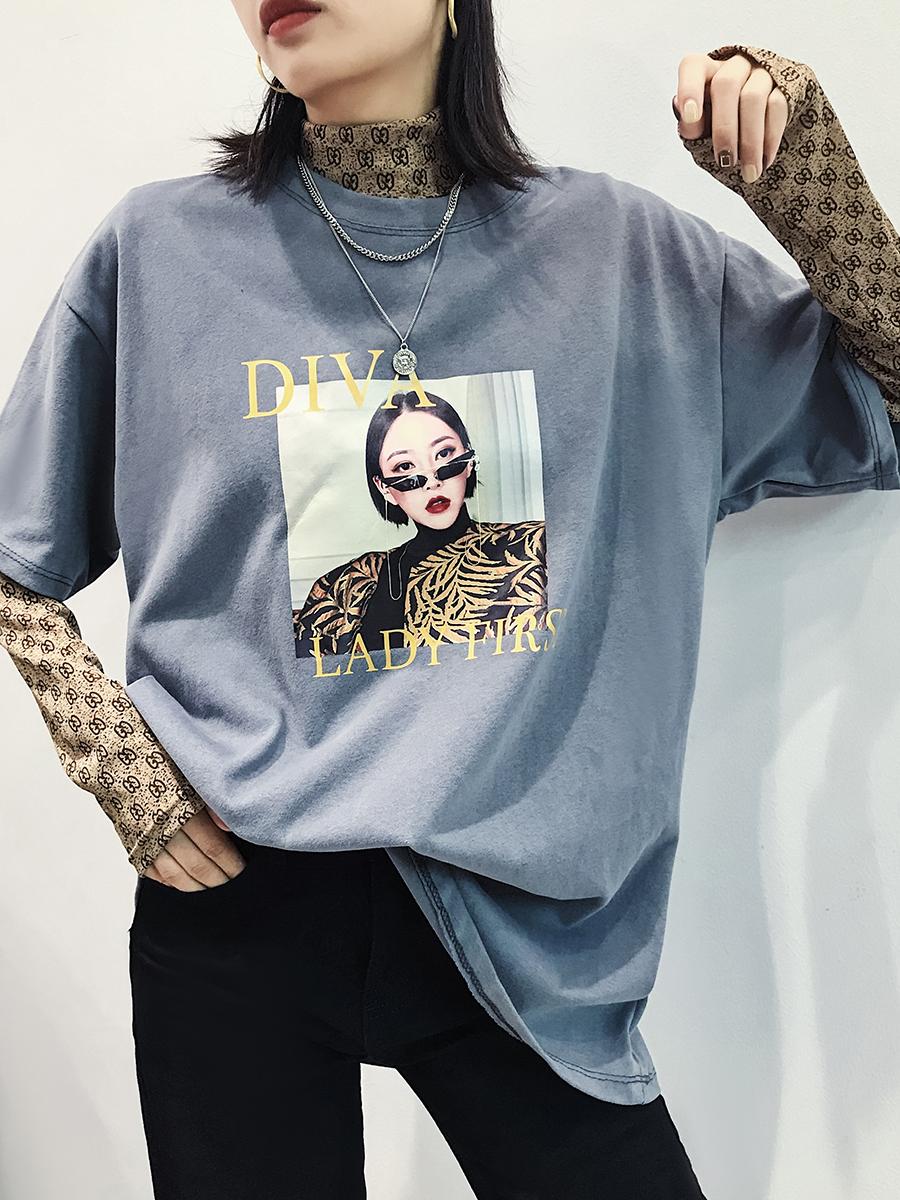 五分袖T恤韩版女装2019新款潮宽松显瘦圆领字母套头中长款上衣女