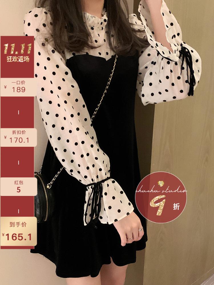 楚楚波点天丝网纱拼接收腰显瘦丝绒连衣裙女韩版气质法式裙子