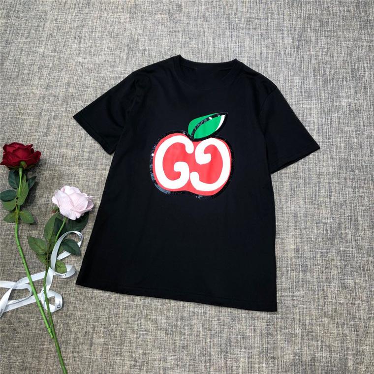 欧洲站高端女装 2019秋 简约苹果字母图案圆领短袖T恤 女
