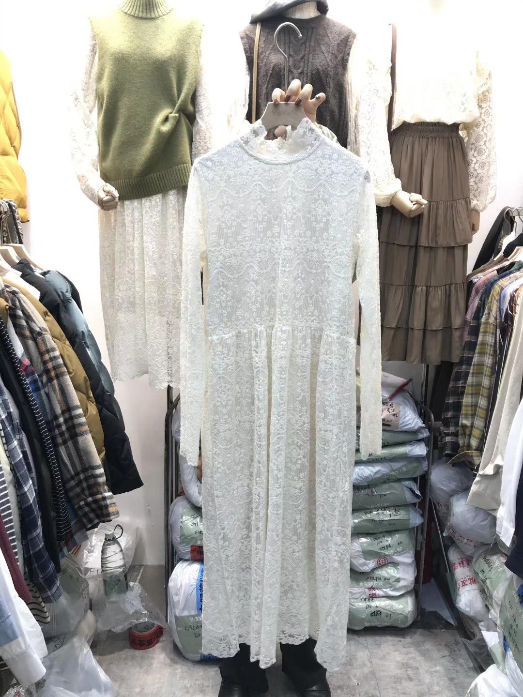 韩国秋冬2019年新款长袖仙女蕾丝连衣裙女士过膝内搭打底中长裙