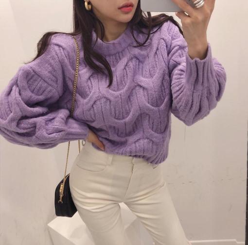 韓國ins網紅 甜美氣質麻花紋燈籠袖圓領針織衫