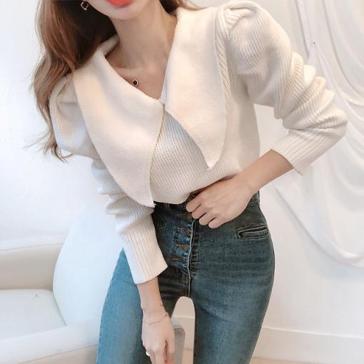 韓國chic減齡大翻領百搭泡泡袖長袖套頭保暖毛衣