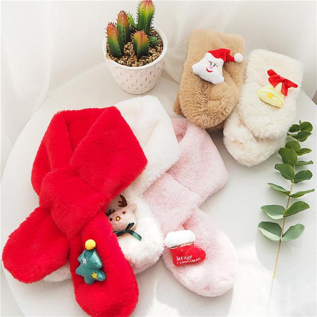 2019圣誕系列仿瀨兔毛圍巾秋冬寶寶男童女童圍脖冬季純色保暖圍脖