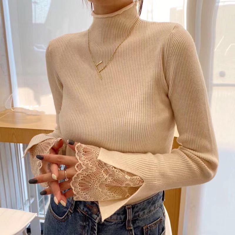 2019秋冬新款韓版半高領毛衣女修身長袖拼接蕾絲針織打底衫上衣潮
