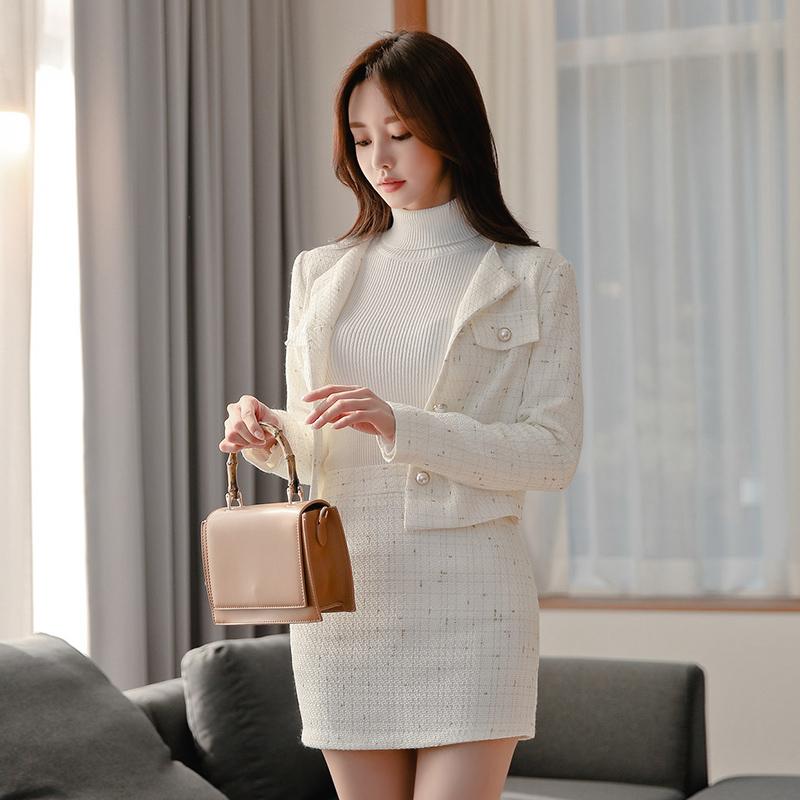 2019秋冬新款韓版修身圓領小香風短款外套+半裙套裝
